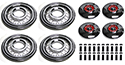 4-55/56 Simulated Wire Wheel Covers with red centers