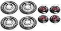 4-55/56 Clipless Simulated Wire Wheel Covers with red centers