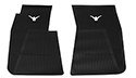 55-60 Front Floor Mats, Black With White Emblem, Pair