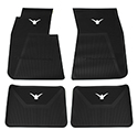 58-60 Front And Rear Floor Mats, Black With White Emblem