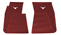 55-60 Front Floor Mats, Red With White Emblem, Pair