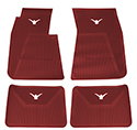 58-60 Front And Rear Floor Mats, Red With White Emblem
