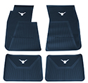 58-60 Front And Rear Floor Mats, Blue With White Emblem