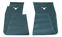 55/60 Thunderbird Front Floor Mats, Aqua with White Emblem