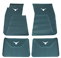 58-60 Front And Rear Floor Mats, Aqua With White Emblem