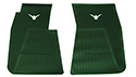 55-60 Front Floor Mats, Green With White Emblem