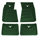 58-60 Front And Rear Floor Mats, Green With White Emblem