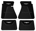 61-63 Front And Rear Floor Mats, Black With White Emblem