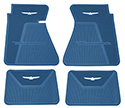 61-63 Front And Rear Floor Mats, Blue With White Emblem