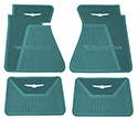 61-63 Front And Rear Floor Mats, Aqua With White Emblem