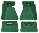 61-63 Front And Rear Floor Mats, Dark Green With White Emblem