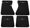 64-66 Front And Rear Floor Mats, Black With White Emblem