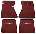 64-66 Front And Rear Floor Mats, Red With White Emblem