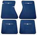 64-66 Front And Rear Floor Mats, Blue With White Emblem