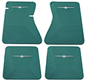 64-66 Front And Rear Floor Mats, Aqua With White Emblem