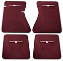 64-66 Front And Rear Floor Mats, Burgundy With White Emblem