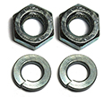 57 Trunk handle to deck lid nuts and washers,  w/o wedge washers (4pcs)