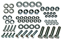57 Thunderbird Front bumper brackets to frame & body bolts, nuts, flat and lock washers, (64 pcs-2 sides)